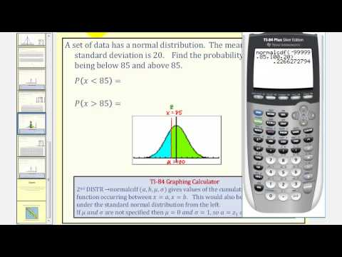 Normal Distribution:  Find Probability of Data Values Using the TI84