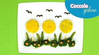 Spiedini di mini burger vegetariani a forma di alberelli  - Ricette per bambini di Coccole Sonore