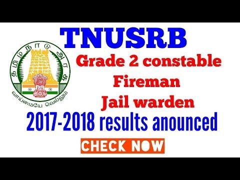Check TNUSRB 2017-2018 grade 2 constable /fire man/ jail warden result