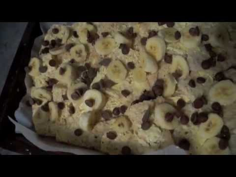 Bread and butter pudding with banana and chocolate chips