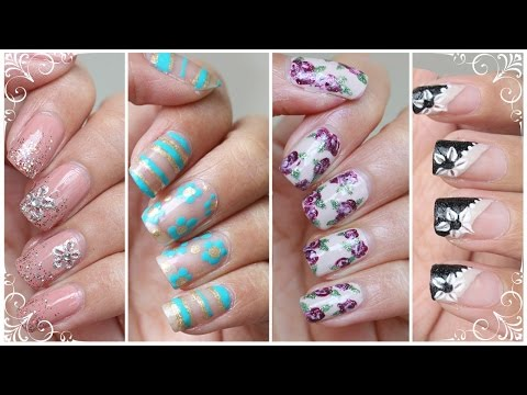 Flower Nails: 4 WAYS | NO Nail Art Tools Needed!! - Nail Art Tutorial for Beginners