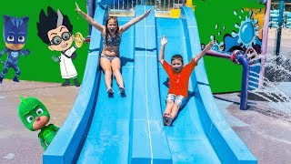 PJ MASKS Waterpark Hunt Assistant and Batboy Look for Gekko Owlette Catboy and Romeo