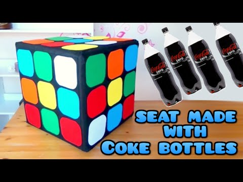 DIY Crafts: Rubik Cube seat with plastics Coke bottles, Coca Cola - handmade - Youtube - Isa ❤️