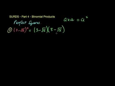 Surds/Radicals 4 -  Binomial Products