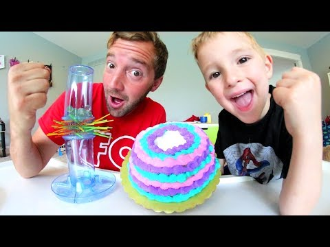 Father & Son CAKE IN FACE GAME CHALLENGE! / Kerplunk Time!