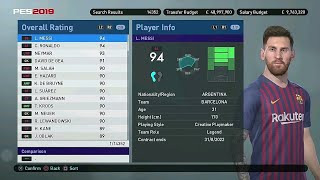 PES 2019 - All 80+ Rated Players