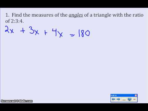 Using Ratios to find angles of triangles