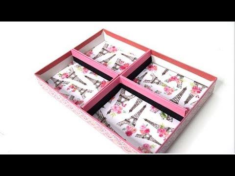 {DIY} Shoe box Lid Organizer 🗃 No Glue!