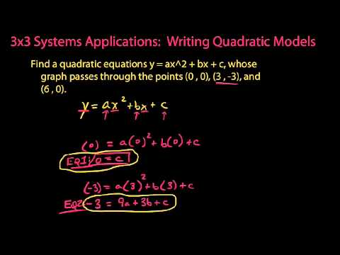Solving a 3x3 system to fit an equation to a quadratic curve