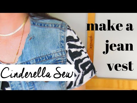 Cut a jean jacket into a vest - Make a denim vest - Easy DIY Clothing Restyle Tutorials