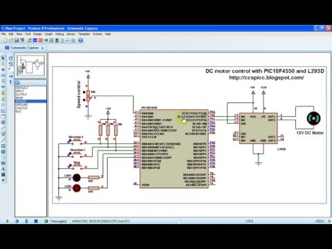 DC motor speed and direction control with PIC18F4550 and L293D CCS PIC C
