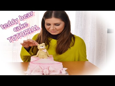 birthday cake teddy bear sugar paste tutorial fondant - torta con panna + pasta di zucchero