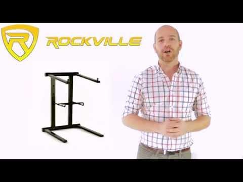 Rockville RLS2400 Lightweight Folding DJ Laptop Stand w/Extra Shelf & Travel Bag