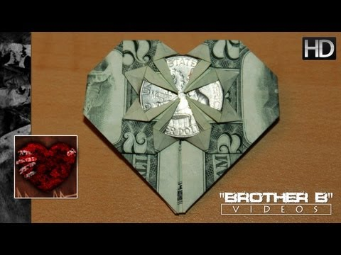 Origami ♥ Dollar Bill Heart + Quarter