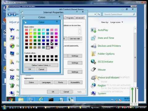 How to change page colors and text in Internet Explorer in Microsoft Windows Server 2012