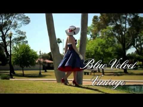 Classic Dame 50s Style Blue Polka Dot Swing Dress