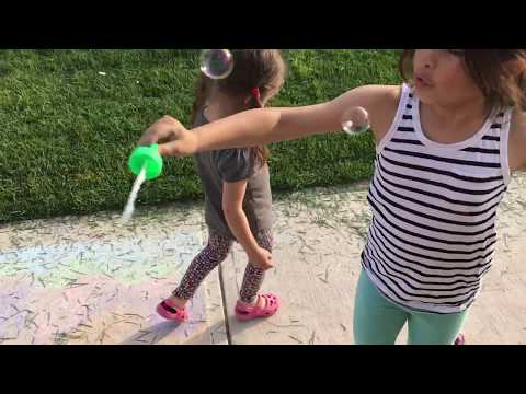 Kindergarten Fun Bubbles - Cutting The Grass With Push Mower - Family Vlog