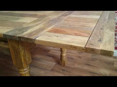 Extendable Hardwood Farmhouse Dining Table Natural Rustic Finish