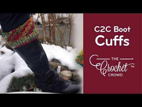 How to Crochet C2C Boot Cuffs Tutorial