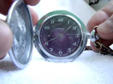 Rare Vintage Pocket watch Molnija Purple Dial made in USSR mechanical watch