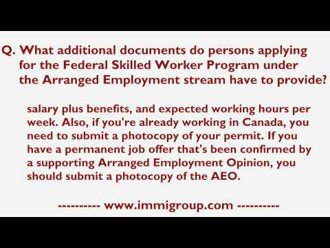 What additional documents for FSW Program under the Arranged Employment stream have to provide?