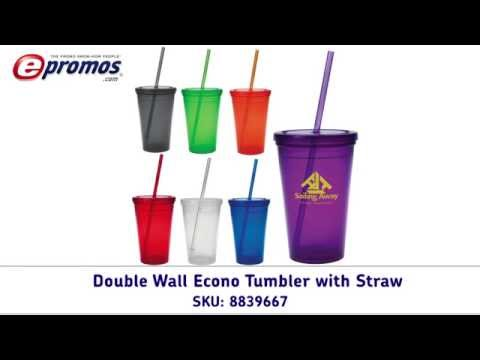 Double Wall Econo Custom Tumblers with Straws - Customized Tumblers - ePromos