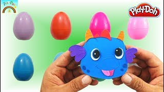 Play Doh  videos for kids (cute blue dragon) inside surprise eggs.