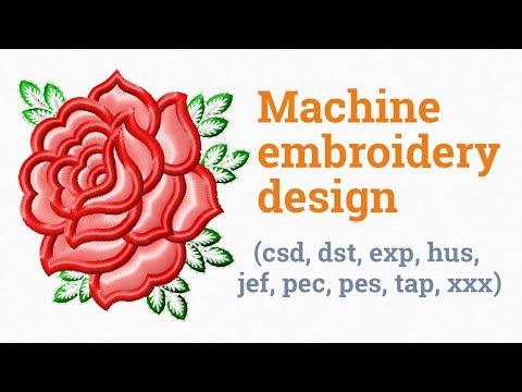 Pink rose. Machine embroidery design (csd, dst, exp, hus, jef, pec, pes, tap, xxx)