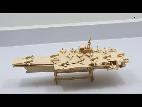 3D Woodcraft Construction Kit DIY, Assembly Wooden Aircraft Carrier