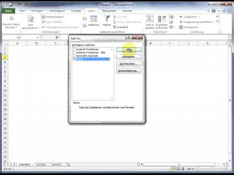 Install Solver and Data Analysis Tool Pack (Add-In) in Excel