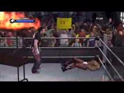 tommy dreamer puts burke through 2 flaming tables