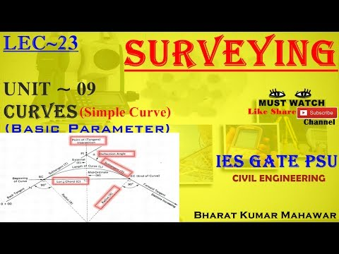 Surveying~ Lec 23~U9 ~ Curves(Basic Parameter of Simple Curve) by Bharat Kumar Mahawar