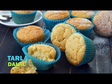 Vanilla Cupcakes, Eggless Vanilla Cupcakes by Tarla Dalal