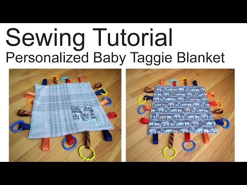 How to sew a personalized taggie blanket toy | Sensory blanket sewing tutorial with DIY appliqué