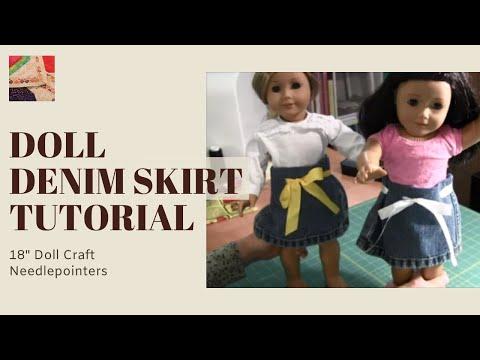 How to Make a Doll Denim Skirt (No Sew) - American Girl Doll Skirt
