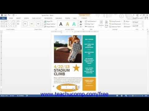 Word 2013 Tutorial Inserting Text Boxes Microsoft Training Lesson 13.4