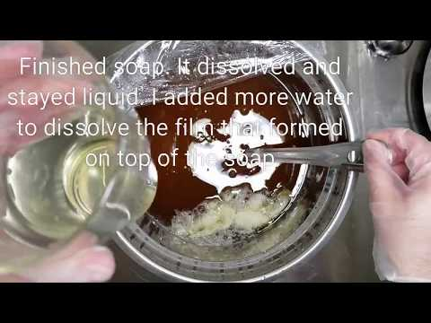 V.2 Making liquid soap using only sodium hydroxide (NaOH). KOH in the video caption was a typo.