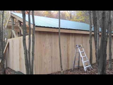 Pole Barn - framing purlins, installing board & baton siding & steel roofing - 10-23-2010