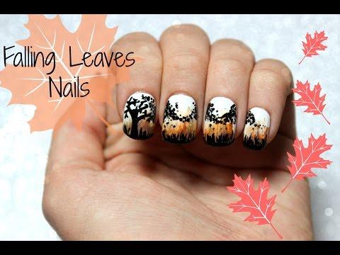 Fall Nails - Falling Leaf Design   Viki NailBeauty