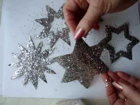 GLITTERED ONE CUT SNOWFLAKES, christmas ornaments, last minute