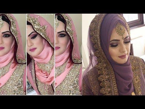 Muslim bridal makeup tutorial 2018    latest Muslim bridal makeup and dresses 2018   