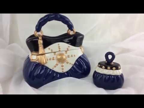 GIFT GIVING:  David's Cookies Navy Handbag Ceramic Decorative Jars Set