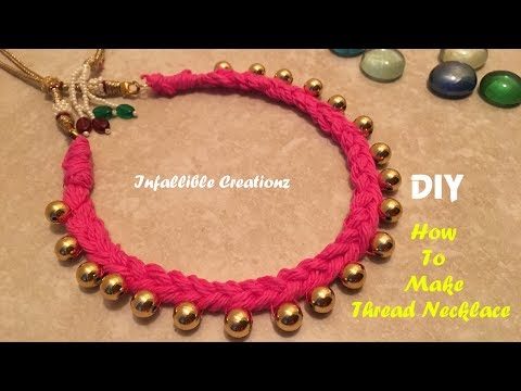 Thread necklace | How to make thread pearl necklace at home | Pearl Choker DIY