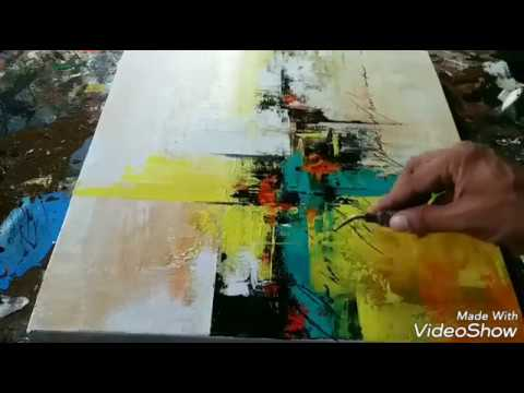 Abstract painting / How to make easy Acrylic abstract demonstration