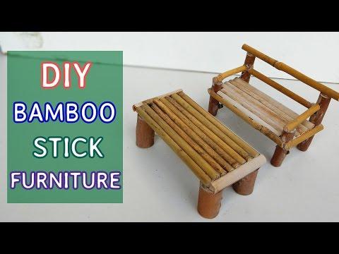 DIY bamboo stick Furniture : Mini sofa and table #5