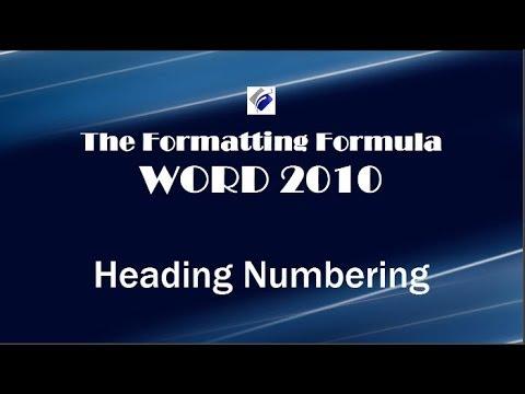Word 2010 Heading Numbering