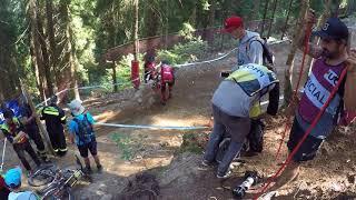 Greg Minnaar Crash splitting bike in 2! WTF Val di Sole 2017