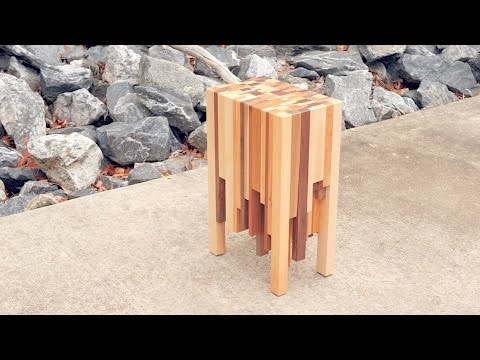 Scrap Wood End Grain End Table   How To Build - Woodworking