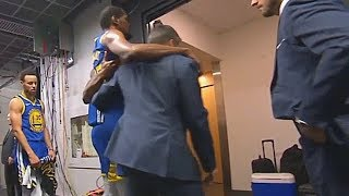 Stephen Curry Leaves The Game To Support Kevin Durant After Injury With Iguodala During Game 5!