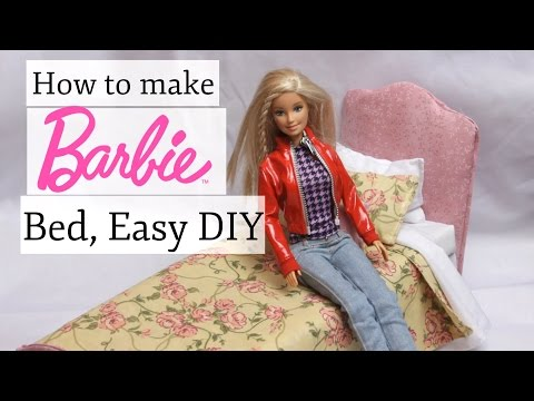 How to make a Barbie Bed Easy DIY Homemade Toy